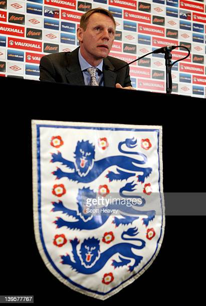 Temporary England Manager Stuart Pearce talks to the media during a press conference for the England Squad Announcement at Wembley Stadium on...