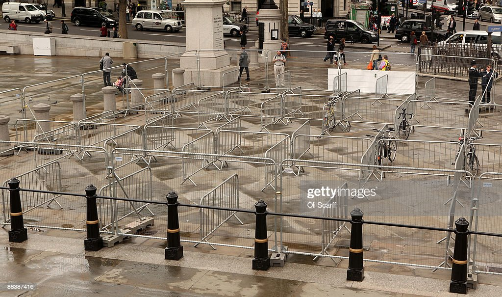 A temporary, secure bike parking area provided in Trafalgar Square to assist commuters during the tube strike contains just 10 bikes on June 10, 2009 in London, England. A 48 hour strike began at 7pm yesterday after discussions over pay and working conditions between London Underground bosses and the RMT Union failed to reach a conclusion.