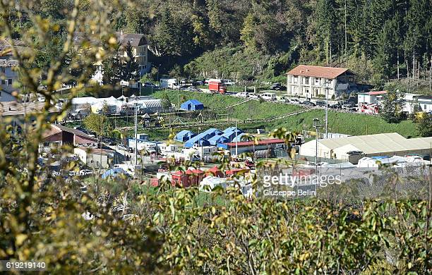 Temporary shelters are seen in Arquata del Tronto following a massive earthquake this morning on October 30 2016 in Perugia Italy A 71 magnitude...