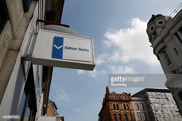 A temporary sign hangs outside a building during construction work carried out by Balfour Beatty Plc in the King's Cross district of London UK on...