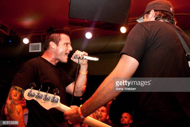 Temporary singer Zolie Teglas of the band IGNITE performs with Pennywise for the first time during the Pennywise Secret Show on October 22 2009 at...