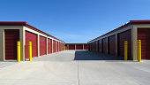 Plenty of red door units in this self storage facility.