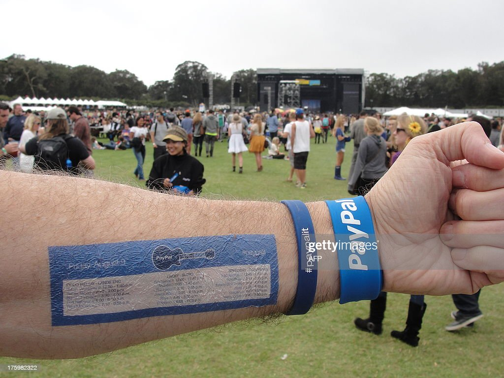 Temporary tattoos help music lovers keep track of bands playing on the four stages at the Outside Lands festival, on August 9, 2013 in Golden Gate Park, San Francisco. Online financial transactions titan PayPal says it is keen to collaborate with others as it strives for a cash-free future. 'We are all about working with developers to let them take advantage of the heavy lifting we've done when it comes to moving money around the world,' Hill Ferguson, the company's vice president of global product, told AFP. PayPal -- founded 15 years ago with a vision of becoming a global currency -- has also been working with stores in the United States and abroad to let people pay for almost anything with Internet-Age digital wallets. AFP PHOTO / Glenn CHAPMAN