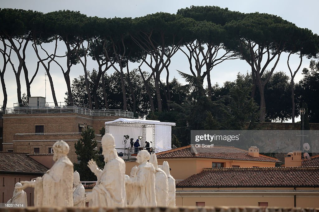 A temporary television studio is set up on a rooftop before Pope Benedict XVI delivers his last Angelus Blessing from the window of his private apartment to thousands of pilgrims gathered in Saint Peter's Square on February 24, 2013 in Vatican City, Vatican. The Pontiff will hold his last weekly public audience on February 27, 2013 before he retires the following day. Pope Benedict XVI has been the leader of the Catholic Church for eight years and is the first Pope to retire since 1415. He cites ailing health as his reason for retirement and will spend the rest of his life in solitude away from public engagements.