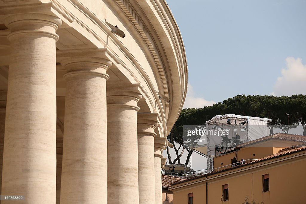 A temporary television studio on a rooftop adjacent to the colonnade at the edge of Saint Peter's Square ahead of Pope Benedict XVI's last public...
