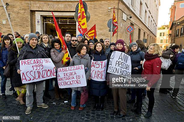 Temporary workers of the Istituto Superiore di Sanità organized by the Basic Trade Union demonstrated in front of the Ministry of Health to ask the...