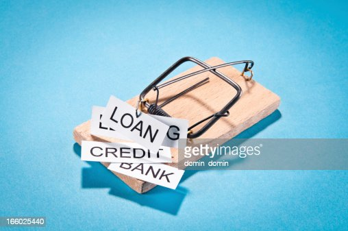 Temptation: loan, credit, leasing, bank trap isolated on blue