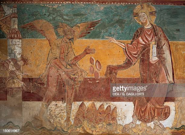 Temptation of Christ in the desert 12th century Romanesque frescoes on the south wall of the Church of SaintAignan Brinay France 12th century