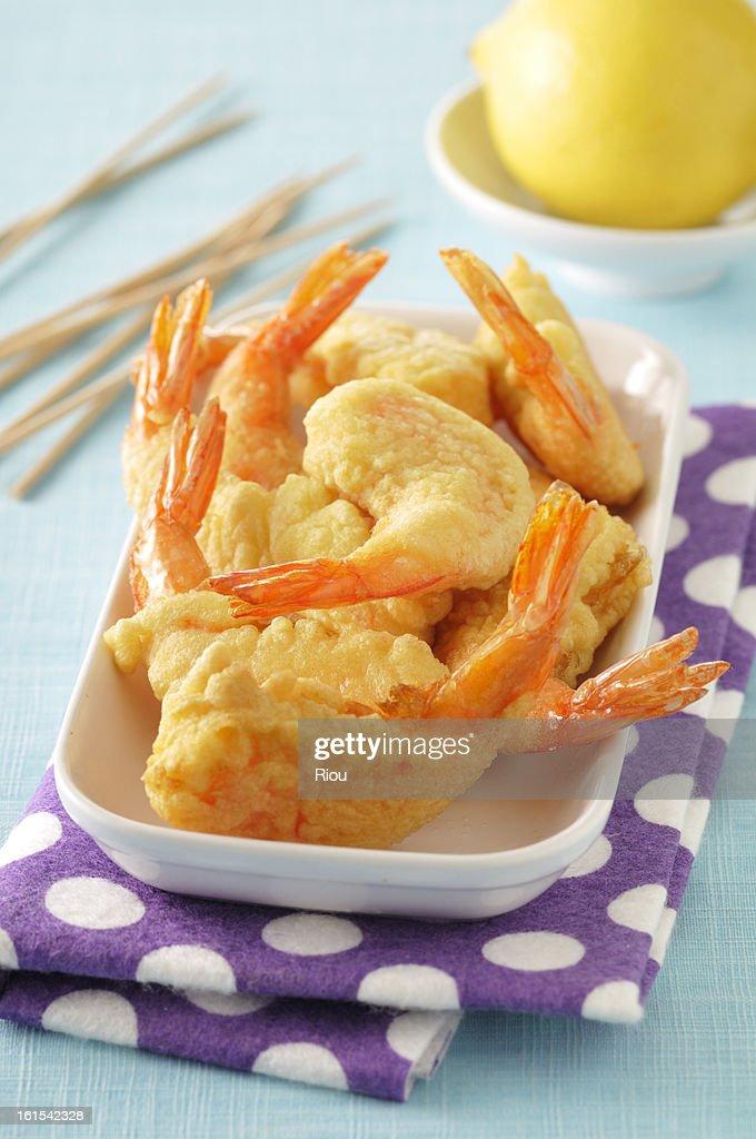 Tempura of shrimps with coconut : Stock Photo