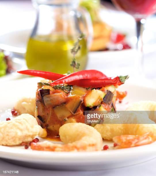 Tempura prawns with rattatouile