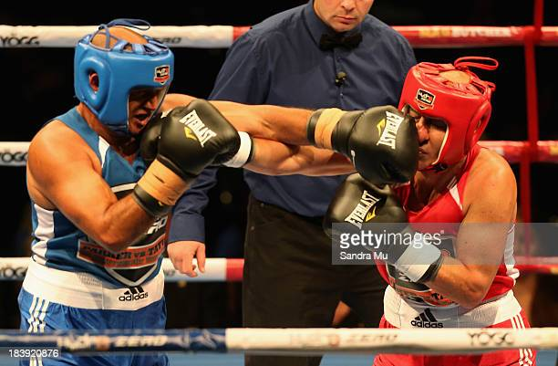 Temuera Morrison punches Borris Sokrotov during the under card fight ahead of the Joesph Parker and Afa Tatupu New Zealand National Boxing Federation...