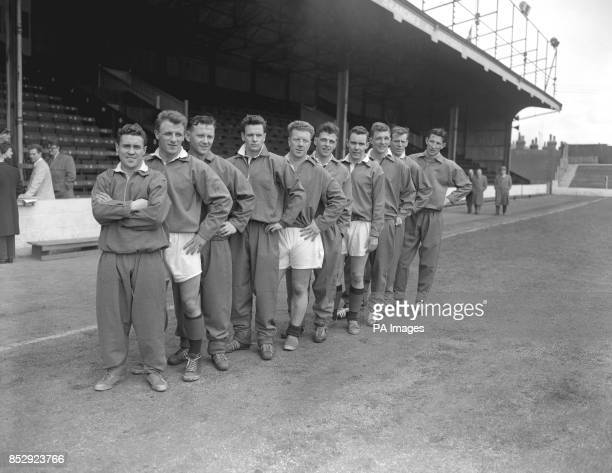 Ten members of the Scotland team to meet England in the 195859 British Home Championship at Wembley on Saturday are pictured at Elm Park Reading...