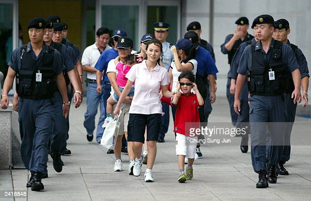 Ten North Korean asylum seekers arrive at Incheon International Airport August 23 2003 in Incheon South Korea The 10 made it from North Korea into...