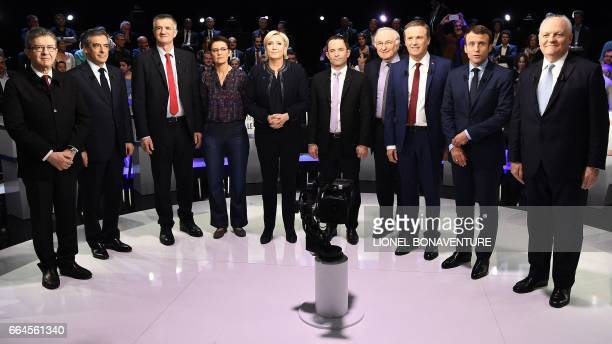 TOPSHOT Ten of eleven candidates French presidential election candidate for the farleft coalition La France insoumise JeanLuc Melenchon French...