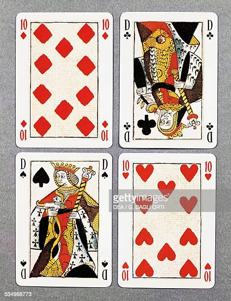 Ten of hearts queen of spades queen of clubs and ten of diamonds French playing cards France 17th century