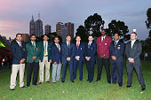 Ten team Captains pose during the Opening Ceremony ahead of the ICC 2015 Cricket World Cup at Sidney Myer Music Bowl on February 12 2015 in Melbourne...