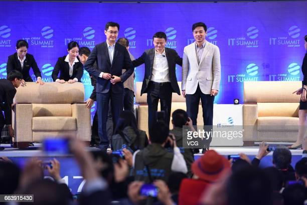 Tencent CEO Pony Ma Huateng Alibaba chairman Jack Ma and Baidu CEO Robin Li Yanhong attend the China IT Summit 2017 at Shenzhen Wuzhou Guest House on...