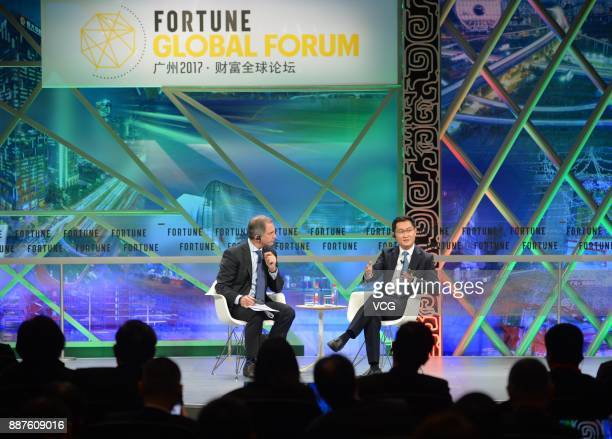 Tencent chairman and CEO Pony Ma Huateng attends the 2017 Fortune Global Forum on December 6 2017 in Guangzhou Guangdong Province of China The 2017...