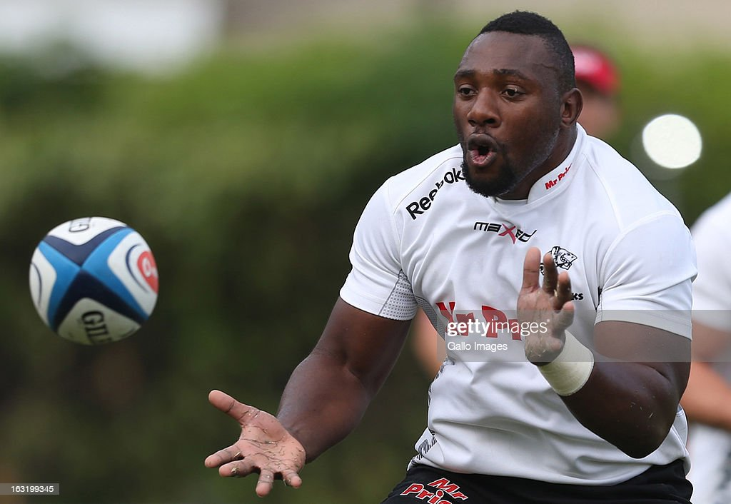 Tendai Beast Mtawarira during The Sharks training session from Kings Park on March 06, 2013 in Durban, South Africa.