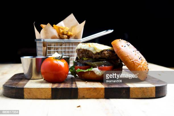 tenderloin beef Burger cooking with french style on light and relax table