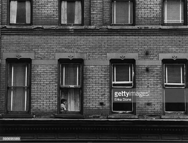 A tenement block in Harlem New York City circa 1948