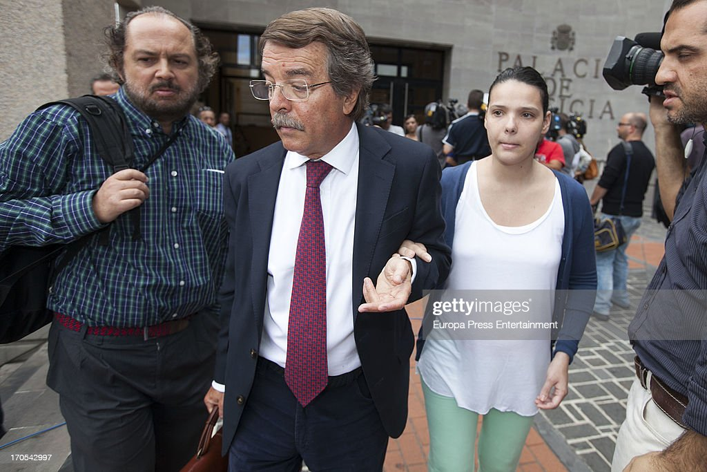 Tenerife Carnival Queen Saida Prieto (R) attends court on June 13, 2013 in Santa Cruz de Tenerife, Spain. The 25 years-old girl, aspiring as carnival Queen, was severely burned last February after fireworks of another Queen's dress burnt her costume during Carnival Parade.