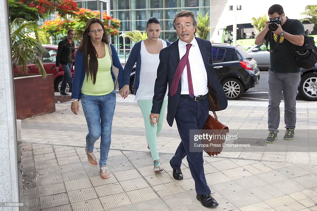 Tenerife Carnival Queen Saida Prieto (C) with her mother attends court on June 13, 2013 in Santa Cruz de Tenerife, Spain. The 25 years-old girl, aspiring as carnival Queen, was severely burned last February after fireworks of another Queen's dress burnt her costume during Carnival Parade.
