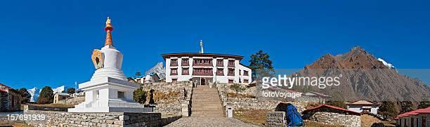 Tengboche monastery buddhist stupa shrine temple panorama Khumbu Himalayas Nepal