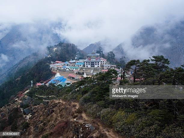Tengboche Monastery on ridge in Khumbu Valley