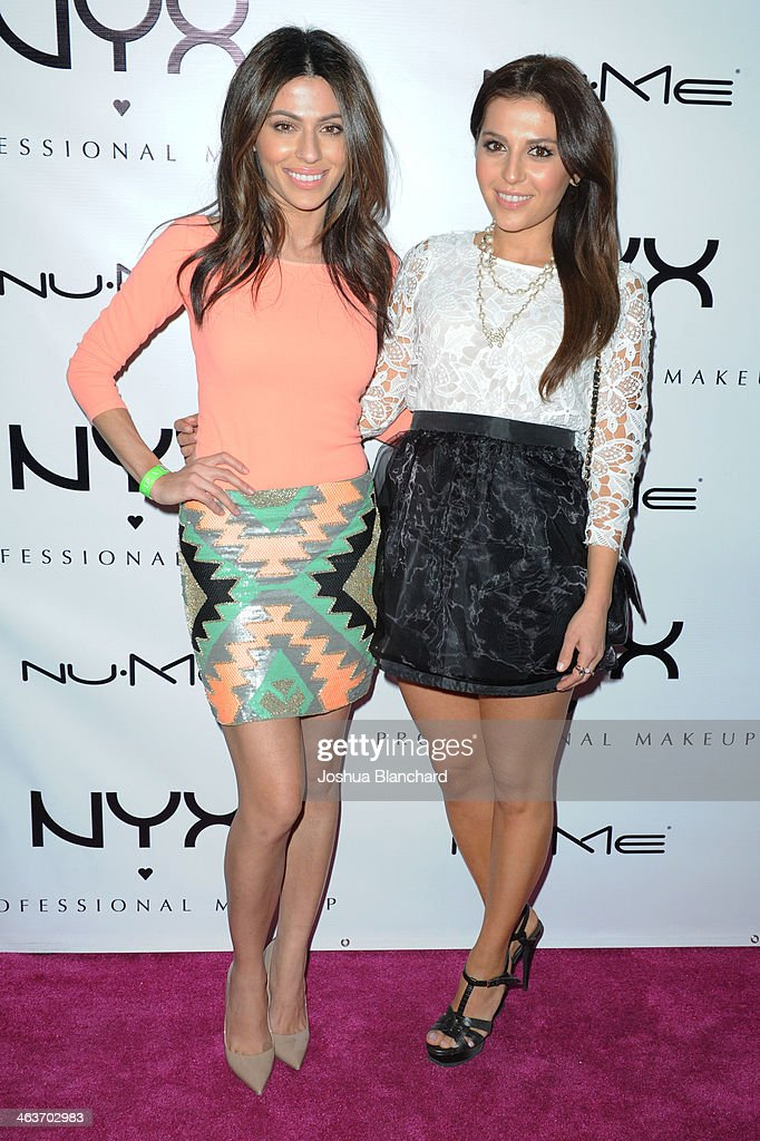 Teni Panosian and Sona Gasparian arrive at the NYX Cosmetics Spring 2014 Launch Event at Regne Haute Blow Dry Salon on January 18 2014 in Pasadena...