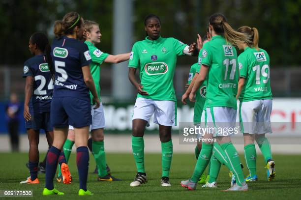 Teninsoun Sissoko of Saint Etienne during the women's National Cup match between Paris Saint Germain PSG and AS Saint Etienne at Camp des Loges on...