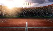 Tenis court Stadium red ground in sunset