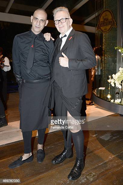 Tenl and Jean Paul Gautier attend the 5th Annual amfAR Inspiration Gala at the home of Dinho Diniz on April 10 2015 in Sao Paulo Brazil