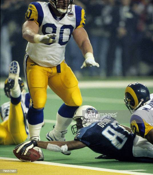 Tennesee Titans wide receiver Kevin Dyson comes up just shorts on the last play of the game during Super Bowl XXXIV a 2316 St Louis Rams victory over...