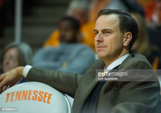 Tennessee Athletic Director John Currie watches a game between the Wichita State Shockers and Tennessee Lady Volunteers on November 20 at...