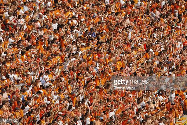 Tennessee fans cheer during the game between the Florida Gators and the Tennessee Volunteers at Neyland Stadium on September 20 2008 in Knoxville...