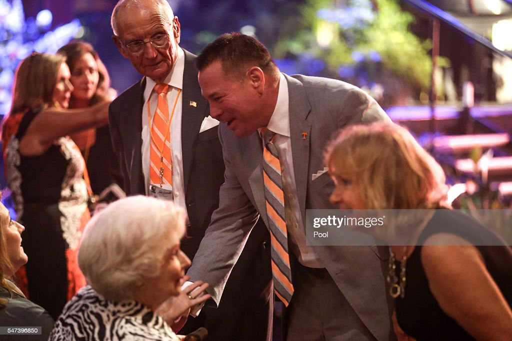 Tennessee football head coach Butch Jones attends a ceremony to celebrate the life of former Tennessee women's basketball coach Pat Summitt at the...