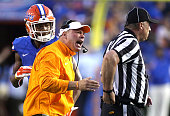 Tennessee head coach Butch Jones against Florida at Ben Hill Griffin Stadium in Gainesville Fla on Saturday Sept 26 2015 The host Gators won 2827