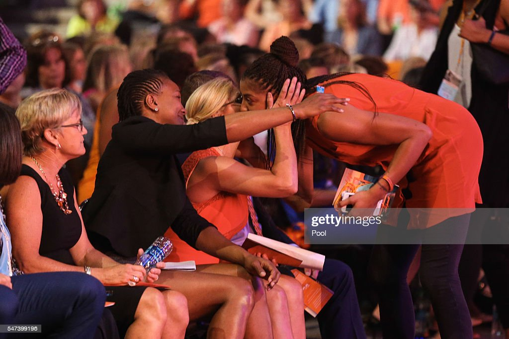 Tennessee head coach Holly Warlick and former Lady Vol basketball players during the Pat Summitt Celebration of Life at ThompsonBoling Arena on July...