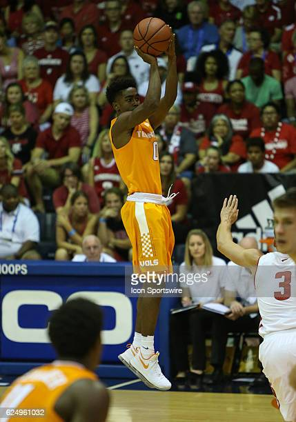 Tennessee Jordan Bone shoots a three during the first round of the Maui Invitational game between the Tennessee Volunteers and the Wisconsin Badgers...