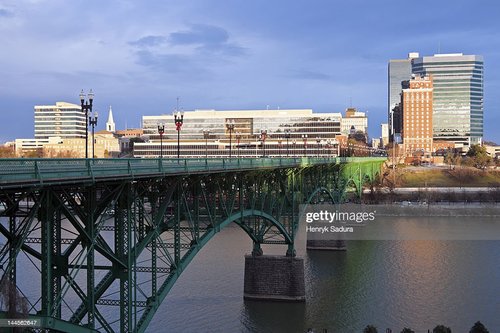 USA, Tennessee, Knoxville, Skyline with bridge