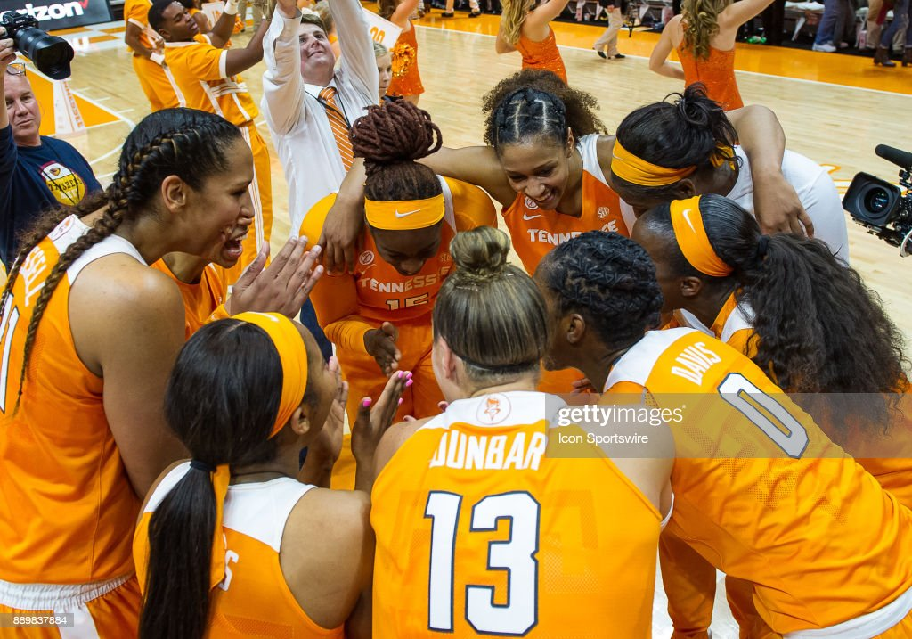 Tennessee Lady Volunteers celebrate after a game between the Texas Longhorns and Tennessee Lady Volunteers on December 10, 2017, at Thompson-Boling Arena in Knoxville, TN. Tennessee defeated Texas 82-75.