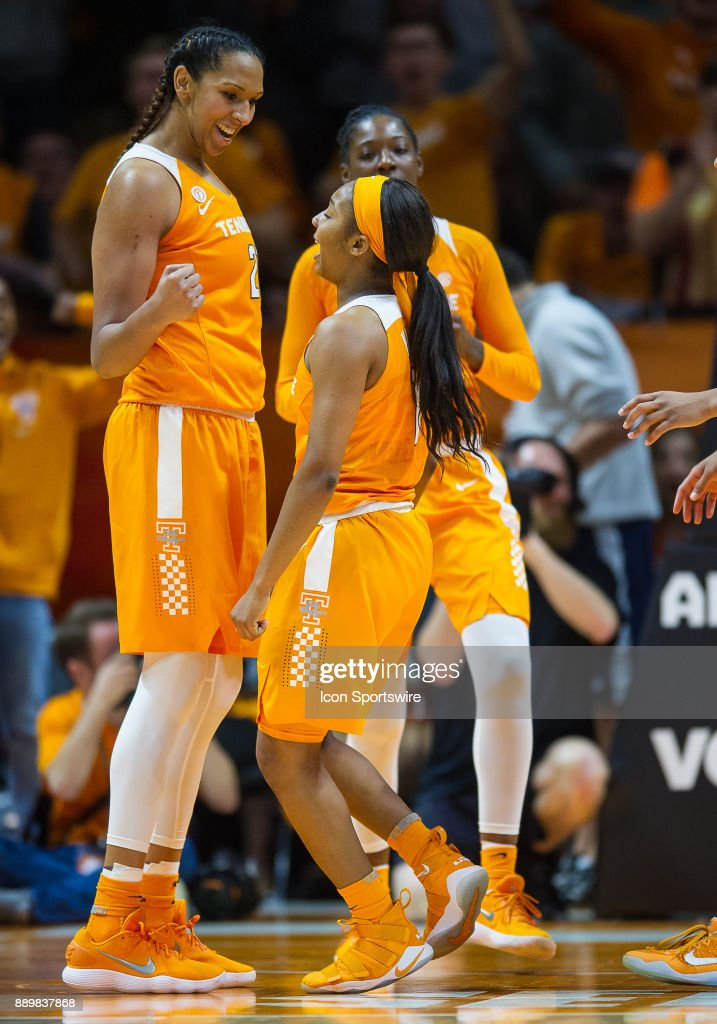 Tennessee Lady Volunteers center Mercedes Russell (21) and guard Anastasia Hayes (1) celebrate during a game between the Texas Longhorns and Tennessee Lady Volunteers on December 10, 2017, at Thompson-Boling Arena in Knoxville, TN. Tennessee defeated Texas 82-75.