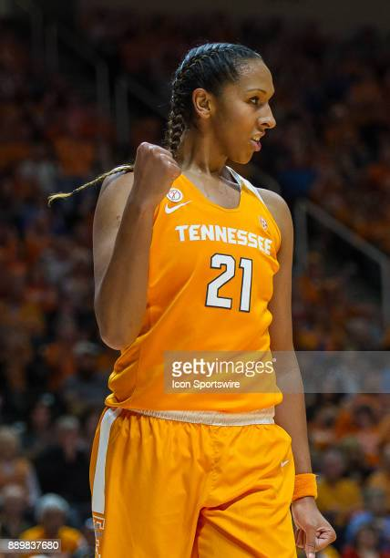 Tennessee Lady Volunteers center Mercedes Russell celebrates after a basket during a game between the Texas Longhorns and Tennessee Lady Volunteers...