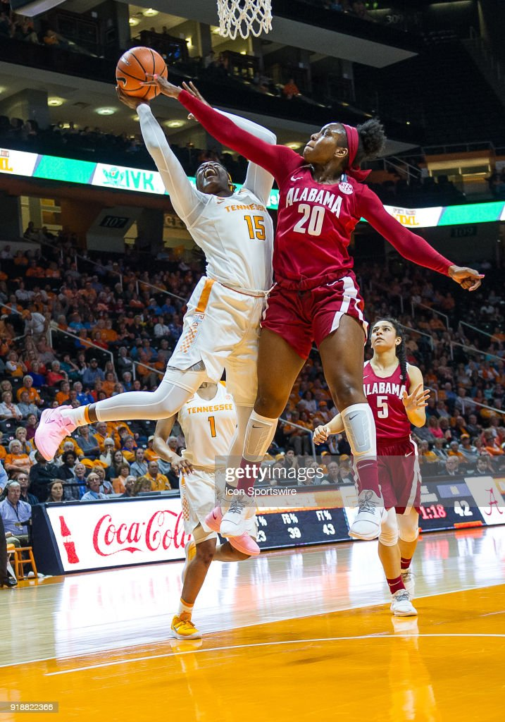 Tennessee Lady Volunteers forward Cheridene Green (15) is guarded by Alabama Crimson Tide forward Ashley Williams (20) during a game between the Tennessee Lady Volunteers and Alabama Crimson Tide on February 15, 2018, at Thompson-Boling Arena in Knoxville, TN. Alabama defeated the Lady Vols 72-63.