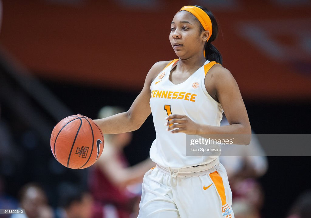 Tennessee Lady Volunteers guard Anastasia Hayes (1) brings the ball up court during a game between the Tennessee Lady Volunteers and Alabama Crimson Tide on February 15, 2018, at Thompson-Boling Arena in Knoxville, TN. Alabama defeated the Lady Vols 72-63.