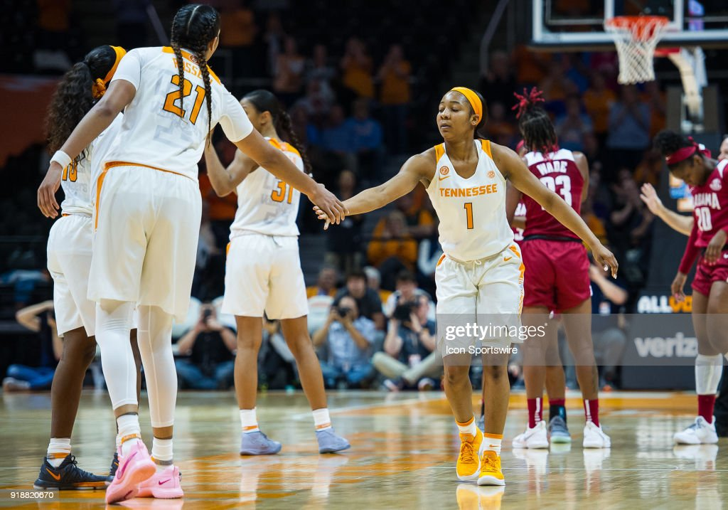Tennessee Lady Volunteers guard Anastasia Hayes (1) congratulates center Mercedes Russell (21) on breaking 1500 points for her career during a game between the Tennessee Lady Volunteers and Alabama Crimson Tide on February 15, 2018, at Thompson-Boling Arena in Knoxville, TN.