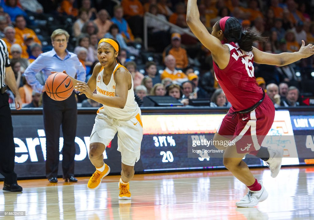 Tennessee Lady Volunteers guard Anastasia Hayes (1) drives past Alabama Crimson Tide guard Meoshonti Knight (15) during a game between the Tennessee Lady Volunteers and Alabama Crimson Tide on February 15, 2018, at Thompson-Boling Arena in Knoxville, TN. Alabama defeated the Lady Vols 72-63.