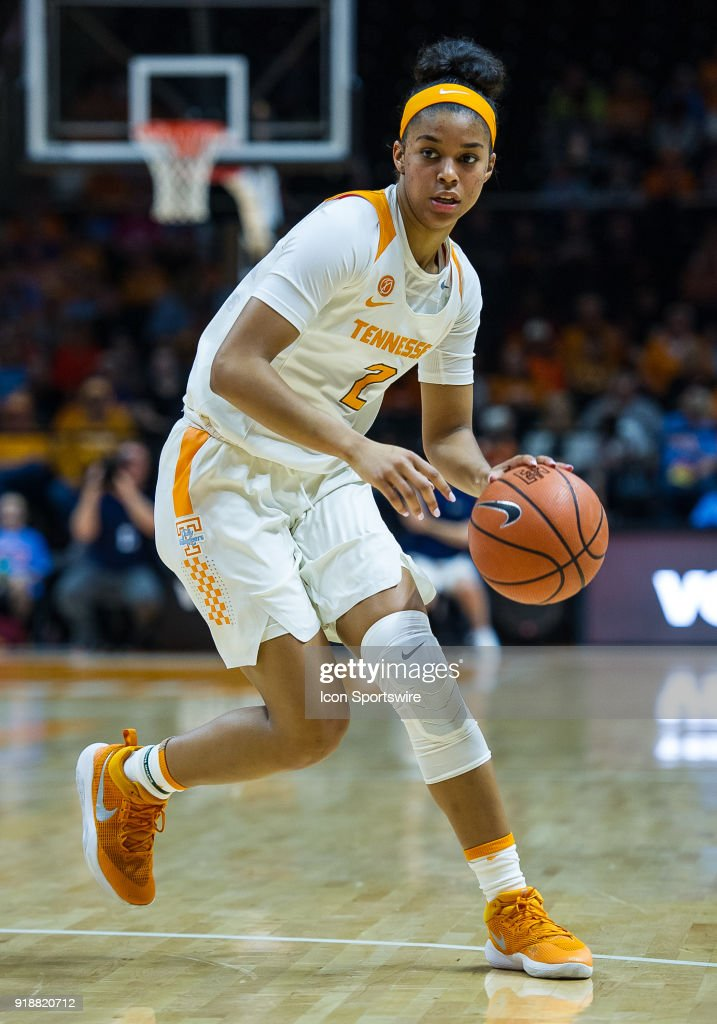 Tennessee Lady Volunteers guard Evina Westbrook (2) brings the ball up court during a game between the Tennessee Lady Volunteers and Alabama Crimson Tide on February 15, 2018, at Thompson-Boling Arena in Knoxville, TN. Alabama defeated the Lady Vols 72-63.