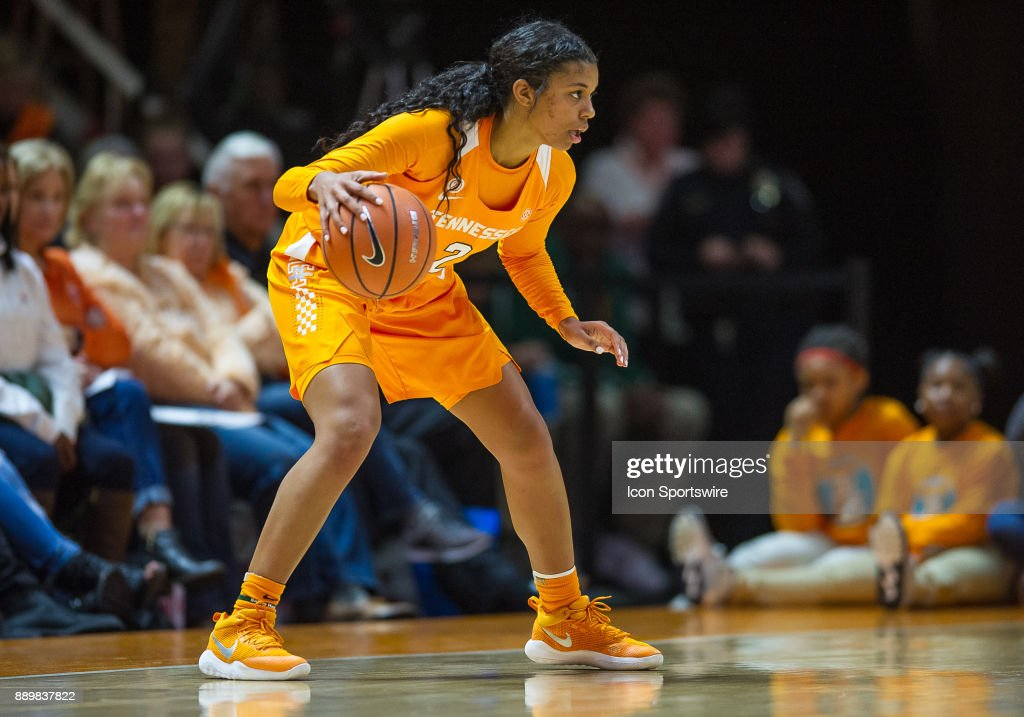 Tennessee Lady Volunteers guard Evina Westbrook (2) looks to dribble inside during a game between the Texas Longhorns and Tennessee Lady Volunteers on December 10, 2017, at Thompson-Boling Arena in Knoxville, TN. Tennessee defeated Texas 82-75.